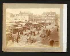MARCHE De CALAIS Place Crevecoeur Pendant La Guerre + Bapteme Refugiees Belges. Set 2 Old Real Photos Sepia FRANCE 1915 - Ancianas (antes De 1900)