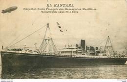 Transports Paquebot. Poste Français Des Messageries Maritimes EL KANTARA Et Dirigeable 1920 - Dampfer