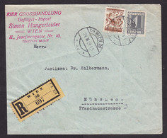 Austria: Registered Cover To Germany, 1929, 2 Stamps, Eagle Bird, R-label, From Egg & Poultry Import (damaged; Folds) - Covers & Documents