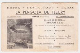 CPA HAUTS DE SEINE.MEUDON.HOTEL RESTAURANT TABAC.LA PERGOLA DE FLEURY.EYRARD PROPRIETAIRE.64 AVENUE DU BOIS - Meudon
