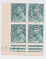 Type Mercure Préo N°82 50c Turquoise Bloc De 4 Bord De Feuille Bas Coin Gauche Neuf - 1893-1947