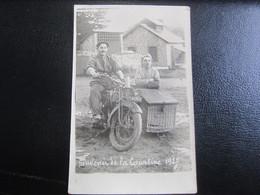 E- Carte Postale Side-car Souvenir De La Courtine 1927 - Moto