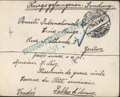 Guerre 14 FM Freiburg 9 3 1915 Censure Kriegsgefangenensendung Geprüft Cachet V Prisonnier Français En Allemagne - Lettres & Documents