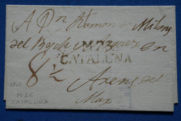 I 17 ESPAGNE BELLE LETTRE 1803 CATALUNA MATARO  + TAXE  MAN. + AFFRANCH.INTERESSANT - ...-1850 Vorphilatelie