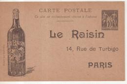 """FRANCE : ENTIER POSTAL . 10 Cts  . TYPE SAGE . CPPTSC . """" LE RAISIN """" . TTB . 1900 . - Cartoline Postali E Su Commissione Privata TSC (ante 1995)"""
