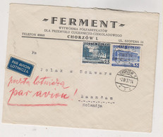 POLAND 1937 CHORZOW Airmail  Cover To Netherlands - Brieven En Documenten