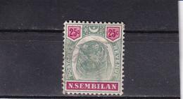 MALAYA NEGRI SEMBILAN 1896 TIGER 25C/ Mi 13 FINE USED CV 120€ - Negri Sembilan