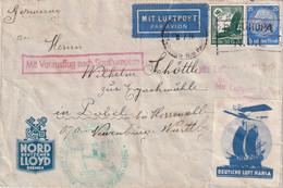 ALLEMAGNE 1934 LETTRE SEEPOST BREMEN-NEW YORK MIT VORAUSFLUG SOUTHAMPTON - Covers & Documents