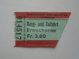 DT003   Schweiz  Switzerland   Wildhaus - Sesselbahn Skilift  Berg Und Talfahrt  Erwachsene Adult   Ca 1970-80 - Toegangskaarten