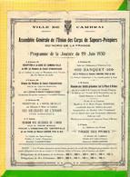 Assemblée Generale De L'Union Des Corps De Sapeurs Pompiers  CAMBRAI - Programs