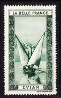 VIGN081 EVIAN Vignette De Collection LA BELLE FRANCE 1925s Helio VAUGIRARD PARIS Erinnophilie - Tourismus (Vignetten)