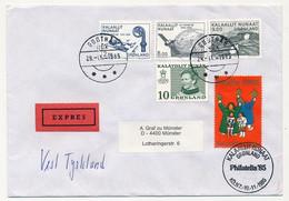 GROENLAND - 2 Enveloppes Affranchissements Composés Divers, En Exprès - 1985 - Avec Vignettes Philatelia 85 - Briefe U. Dokumente