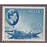 Seychelles, GVIR, 1938, 20c Blue, MH * - Seychelles (...-1976)