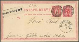 DIENSTMARKEN D 6A BRIEF, 1875, 8 Ø Rosa, Gezähnt 14:131/2, Auf 8 Ø Ganzsachenkarte, Dreiringstempel K3, Rückseitiges Lac - Dienstzegels