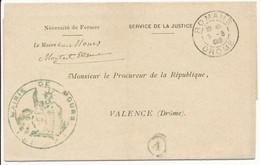 DROME LAC 1902 FRANCHISE MAIRIE ROMANS T84 + BOITE RURALE A = MOURS (CACHET MARIANNE MAIRIE DE MOURS) - 1877-1920: Semi Modern Period