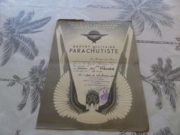 95 - MILITARIA,  Brevet Militaire De Parachutiste N°59427, Inspection Des Troupes Aéroportées, 1952 - Diplômes & Bulletins Scolaires