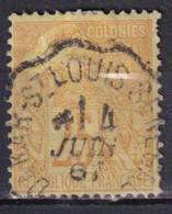 SENEGAL - 1887 - COLONIE GENERALE - ALPHEE DUBOIS - OBLITERATION CONVOYEUR DAKAR à ST LOUIS - Alphée Dubois