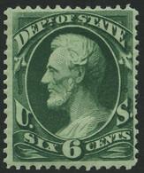 DIENSTMARKEN D 59 *, Scott O 60, 1873, 6 C. State, Falzreste, Pracht, Signiert Gebrüder Senf, $ 220 - Unused Stamps
