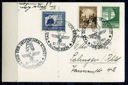 """German Empires München1938 AK (Feldherrenhalle) Mit Mi.Nr.669 U.Propaganda SST""""München-TAG DER DEUTSCHEN KUNST """"1 Karte - Lettres & Documents"""