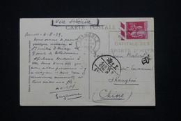 FRANCE - Paix 1f25 Seul Sur Carte Postale De Grenoble Pour Shanghai Par Voie De Sibérie En 1939 - L 100515 - 1921-1960: Modern Tijdperk