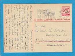 """ENTIER POSTAL  AVEC  CACHET """"MOSTRA ARTIGIANATO LOCARNO 20 SEIT. - 5 OTT. 1958"""". - Postwaardestukken"""