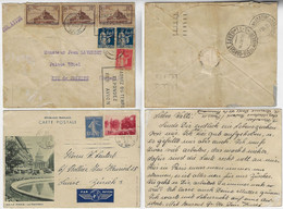 France 1935 Airmail Cover Paris To Rio De Janeiro + 1938 Postal Stationery Pantheon Paris To Zurich Switzerland Label - Covers & Documents