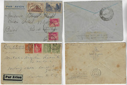 France 1935 Airmail Cover From Paris To Rio De Janeiro + 1933 Airmail Label Cover From Paris To London Great Britain - Covers & Documents
