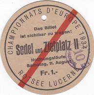 SUISSE LUCERNE CHAMPIONNATS D EUROPE 1934 - Tickets - Vouchers
