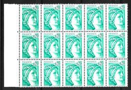 France Sabine YT N° 1967a Variété Sans Phosphore En Bloc De 15 Timbres Neufs ** MNH. Signés Calves. TB. A Saisir! - Varietà: 1980-89 Nuovi