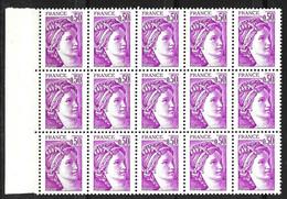 France Sabine YT N° 1969a Variété Sans Phosphore En Bloc De 15 Timbres Neufs ** MNH. Signés Calves. TB. A Saisir! - Varietà: 1980-89 Nuovi