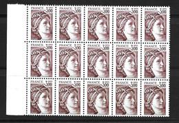 France Sabine YT N° 1979a Variété Sans Phosphore En Bloc De 15 Timbres Neufs ** MNH. Signés Calves. TB. A Saisir! - Varietà: 1980-89 Nuovi