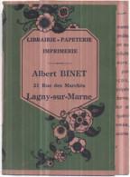 Dépt 77 - LAGNY-SUR-MARNE - Protège Livre Publicitaire Librairie-Papeterie Albert BINET, 21 Rue Des Marchés - Lagny Sur Marne