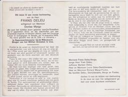 Doodsprentje Rijkswacht Frans Deleu. °Roeselare, +Nevele. Echtgen. Margo. - Obituary Notices