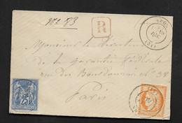 Recommandé Affranchissement Mixte Sage Et Cérès Sur Enveloppe Cachet 1878 Brest à Paris - 1877-1920: Semi-Moderne
