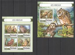 ST001 2016 GUINEE GUINEA FAUNA BIRDS OWLS 1KB+1BL MNH - Gufi E Civette