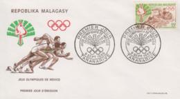 Enveloppe  FDC  1er  Jour    MADAGASCAR   Jeux  Olympiques   MEXICO   1968 - Estate 1968: Messico