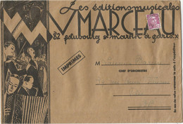 GANDON 10FR VIOLET SEUL GRANDE LETTRE ENTETE EDITIONS MUSICALES MARCEAU 1948 TARIF IMPRIME 3EME - 1945-54 Marianne (Gandon)