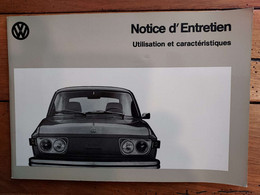 NOTICE ENTRETIEN WOLKSWAGEN PREMIERE PARTIE VW 412 E  ANNEE 1972  LIVRET DE 44 PAGES - Auto's