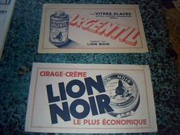Buvards X2  Publicitaire Produits Du  Lion Noir Argentil Pour Glaces & Vitres &  Cirage Crème - M