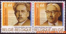 België 2005 - Mi:3512/3513, Yv:3449/3450, OBP:3464/3465, Stamp - XX - Literature - Unused Stamps