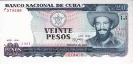 BILLETE DE CUBA DE 20 PESOS DEL AÑO 1991 SIN CIRCULAR (UNCIRCULATED)  (BANK NOTE)  CAMILO CIENFUEGOS - Cuba