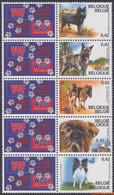 België 2002 - Mi:3114/3118, Yv:3059/3063, OBP:3064/3068, Stamp - XX - Belgian Purebred Dogs - Unused Stamps