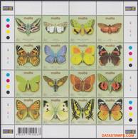 Malta 2002 - Mi:KB 1217/1232, Yv:F 1192/1207, Sheet - XX - Butterflies - Malta