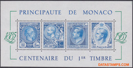 Monaco 1985 - Mi:BL 31, Yv:BL 33, Block - XX - 100 Years Stamps - Bloques