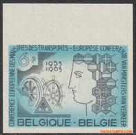 België 1963 - Mi:1313, Yv:1253, OBP:1253, Stamp - □ - European Conference Traffic - No Dentado