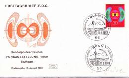 BRD FGR RFA -  Nationale Funkausstellung, Stuttgart (MiNr: 599) 1969 - FDC - FDC: Buste