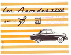 "LES ARONDES 1300   GAMME ""58   SIMCA   -GARAGE DOUMER  VICHY  TARIF N° 239 C.1/8/57 - Automovilismo"