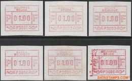 België 1981 - OBP:ATM 1/6, Machine Stamp - XX - Trial Issue P 3001 - P 3006 - Viñetas De Franqueo