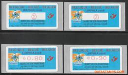 België 2008 - Mi:Autom 64, Yv:TD 72, OBP:ATM 121 Set, Machine Stamp - XX - Luxphila The Smurfs - Automatenmarken (ATM)