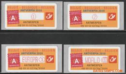 België 2009 - Mi:Autom 65, Yv:TD 73, OBP:ATM 122 Set, Machine Stamp - XX - Antverpia 2010 Fleurus - Automatenmarken (ATM)